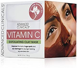 Advanced Clinicals Vitamin C Exfoliating Mud Mask with Rose Hip Oil for age spots and sum damaged skin. Supersize 5.5oz.