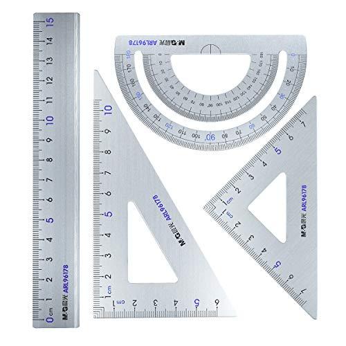 Architektonisches Lineal-Set – Aluminiumlegierung, dreieckiges Lineal, 30°/60° und 45/°90° Dreieckslineal, Winkelmesser, 4 Stück Mathe-Geometrie-Werkzeug