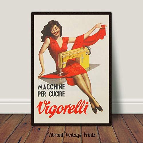 Naaimachine Advertentie Print Rode Jurk Italiaanse Advert Digitale Downloaden Printable Art Vintage Advertentie Poster Grote Muur Kunst