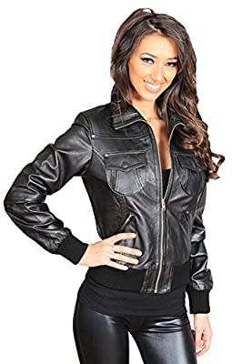 A1 FASHION GOODS Womens Latest Short Fitted Bomber Real Leather Zip Up Jacket Cameron Black (Large)