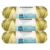 Caron (3 Pack Simply Soft 100% Acrylic Soft Avocado Green Yarn for Knitting Crocheting Medium #4