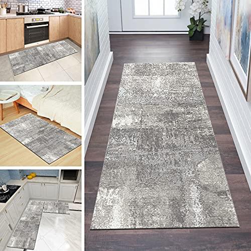 Tappeto Passatoia Cucina Antiscivolo Lavabile 60x180cm Astratto Ingresso Tappeto Runner Corridoio Grigio, Dimensioni Personalizzabili