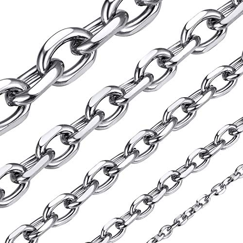 ChainsHouse Edelstahl Herren Ankerkette Unisex Rolo Collier-Breit 5mm Lang 46cm-Silber-Schmuckbox enthält