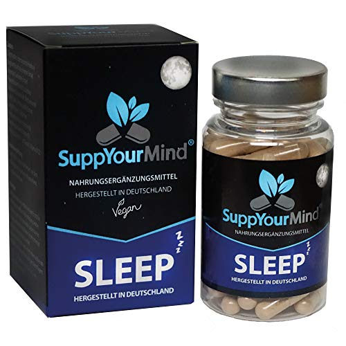 SuppYourMind SLEEP |die natürliche Kapsel mit L-Tryptophan, Baldrian, Lavendel & Hopfen | 60 hochdosierte vegane Kapseln | Made in Germany