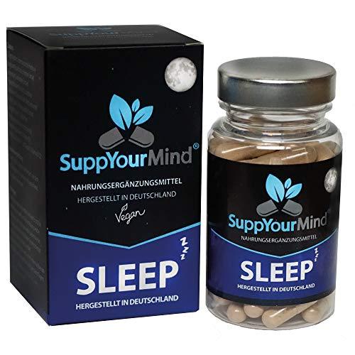 SuppYourMind SLEEP |die natürliche Schlafkapsel mit L-Tryptophan, Baldrian, Lavendel & Hopfen | 60 hochdosierte vegane Kapseln | Made in Germany