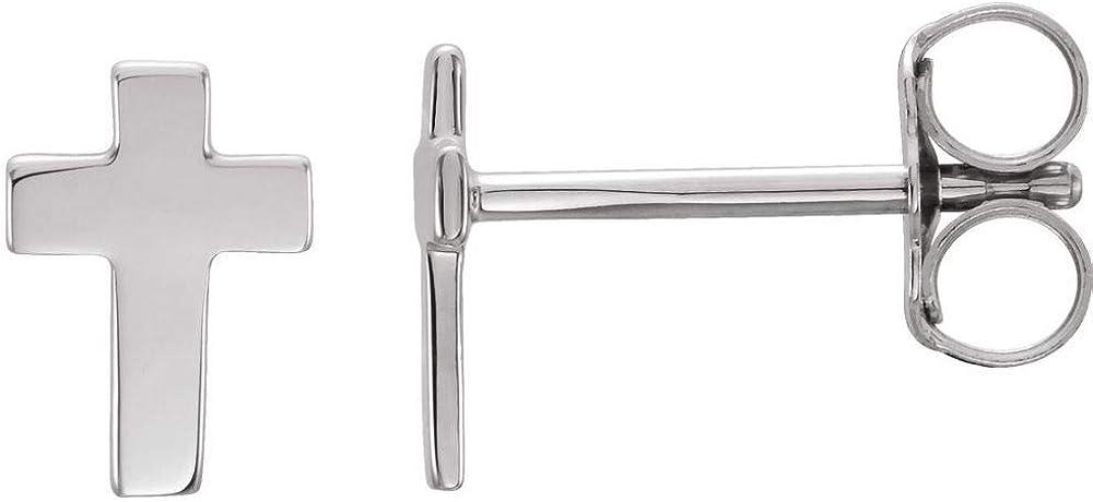 7x5mm Cross Crucifix Stud Earrings (7mm x 5mm)