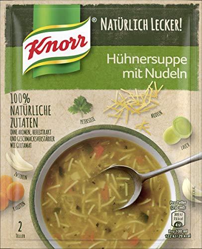 Knorr Natürlich Lecker! Hühnersuppe (für den schnellen Hunger mit Nudeln & 100% natürliche Zutaten), 12er Pack (12 x 41g)
