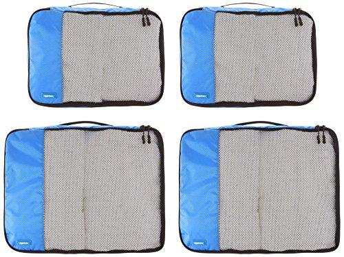 51YJcVti9aL - AmazonBasics - Bolsas de equipaje (2 medianas, 2 grandes; 4 unidades), Azul