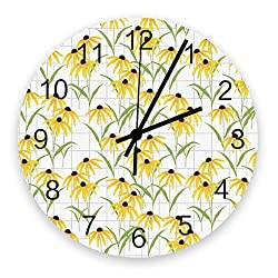Edwiinsa No-Ticking 12 Inch Silent Wooden Round Wall Clock Watercolor Daisy Flowers, Battery Operated Home Decor Kitchen Bathroom Clock Floral Plaid Background