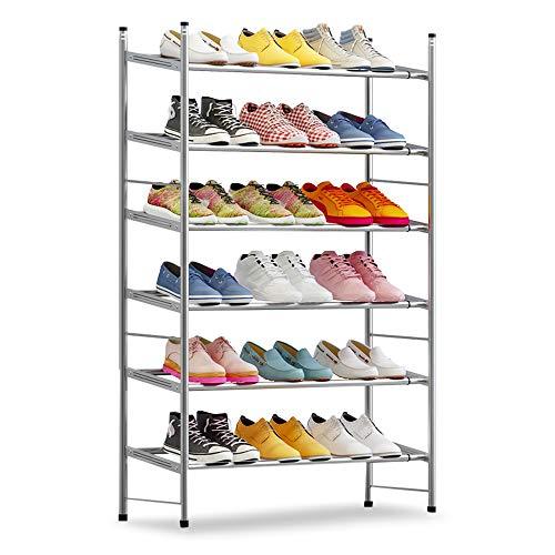 IBEQUEM Zapatero con 6 niveles, color gris plateado, apilable y ajustable, para salón, vestidor, ancho (60-110) x alto 50 x profundidad 30 cm (gris plateado)