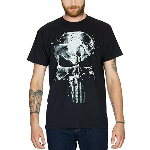Camiseta de algodón con diseño de calavera de Punisher por Elbenwald, color negro, hombre, negro, medium
