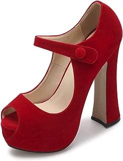 OCHENTA Women's Peep Toe Hidden Platform Ankle Strap Chunky Heel Pumps