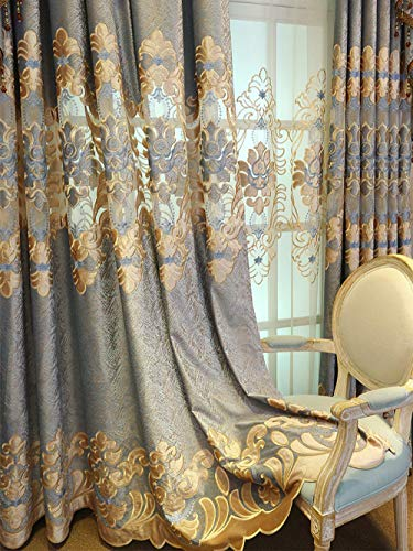 pureaqu European Style Semi Blackout Curtain Panel 84 Inches Long Living Room Grommet Top Luxury Floral Embroidered Curtains and Drapes for Bedroom Sliding Glass Door 1 Panel W52 x H84 Inch