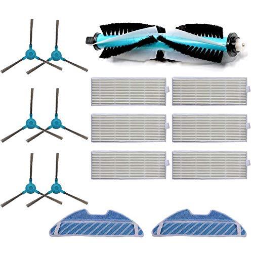 Sodial Ersatz-Set für seitliche Bürste, HEPA-Filter Staubfilter für Cecotec Conga 1390 Cecotec Conga 1290 Teile für Staubsauger Reinigungstuch