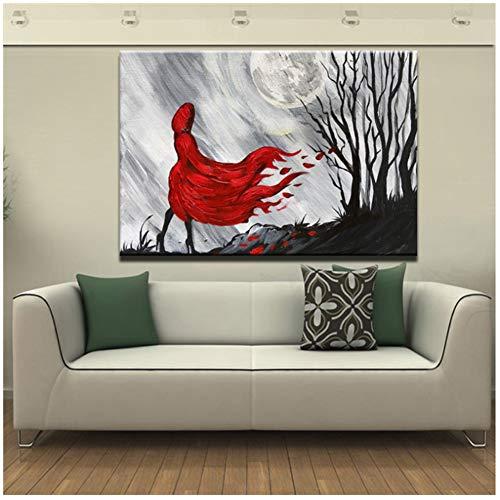 Rode Jas Meisje bij Nacht Hand Moderne Abstracte Wanddecoratie Canvas Schilderij Geschilderd Poster Prints Op Canvas voor Woonkamer Gift-50x75cm Geen Frame