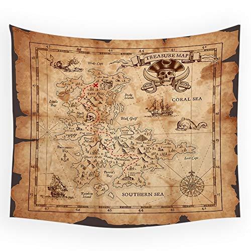 KHKJ Mapa del Mundo Tapiz de Pared Shabby Chic Manta Colgante de Pared Mapa de Paisaje turístico Decoración Decoraciones para el hogar Tapiz de Dormitorio A20 95x73cm