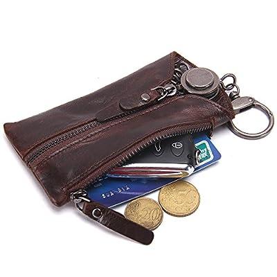 Contacts Genuine Leather Zipper Coin Pocket Purse Car Key Case Holder Wallet Keychain Dark Brown