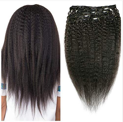 Kinky Straight Hair Clip In Human Hair Extensions 100% Human Natural Black...