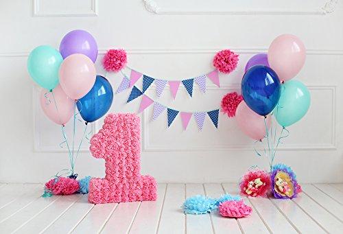 HUAYI 1e Gelukkige Verjaardag Achtergrond Roze Ballonnen bloemen Verjaardag partij portretten Decoratie Pasgeboren Fotografie Props Foto Achtergrond Babydouche, Xt-6534, 7x5ft