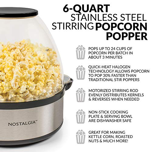 Product Image 2: Nostalgia Stainless Steel 6-Quart Stirring Speed Popper with Quick-Heat Technology 24 Popcorn, with Kernel Measuring Cup, Makes Roasted Nuts, Perfect for Birthday Parties, Movie Nights