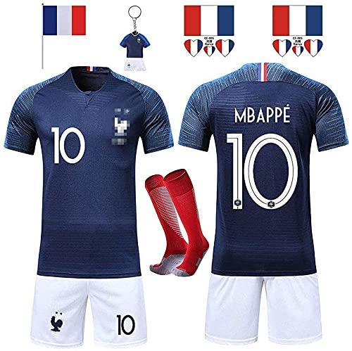 Rongli - Camiseta de fútbol de 2 Estrellas con Calcetines y Accesorios para Hombre y niño, 10 Mbapp¨¦-Bleu, Tag24