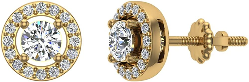 0.66 ct tw Exquisite Classic Diamond Halo Stud Earrings 14K Gold 4.00 mm Center ( G , SI )