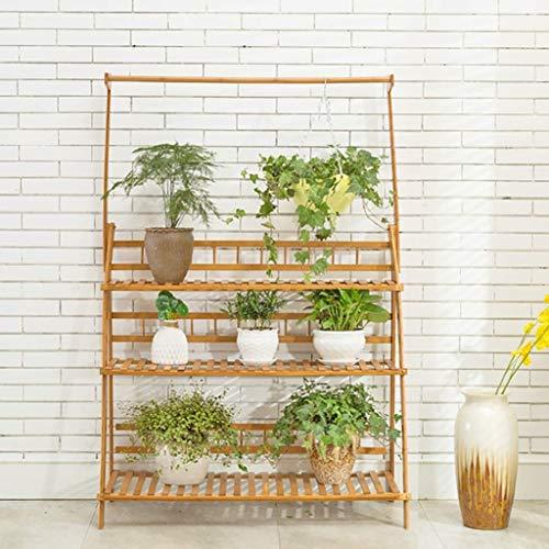 YINUO Étagère à fleurs Balcon en bois massif Salon Étagère à plusieurs viandes Étagère à fleurs à plusieurs couches Bambou Bambou Fer forgé (Size : 50x38x149cm)