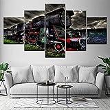 Shentop Leinwanddruck Canvas Muur Kunstwerk Modulaire Poster 5 Panel Oude Stoomtrein Moderne Picture Home Decoratie Schilderen Woonkamer Kader-Kein Rahmen