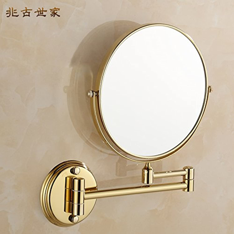 Bathroom European style golden mirror mirror toilet folding mirrors wall retractable mirror 8-inch