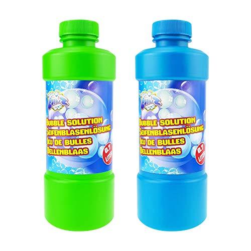 Quantio Seifenblasenflüssigkeit inkl. Seifenblasenstab - mit Schraubverschluss, 0,7 Liter Nachfüllflasche - Verschiedene Mengen wählbar, Stückzahl:2 Stück
