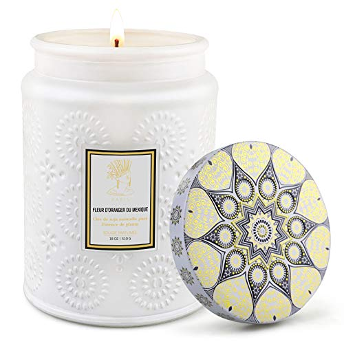 Scented Candle in Embossed Glass Jar 18 Oz Large Soy Wax Candle with Orange Blossom for Home Fragrance Stress Relief Aromatherapy for Women Gift for Her Mum or Girlfriend Burn up to 100 Hours