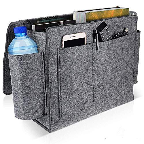 Funihut nachtkastje om op te hangen, ruime bedtas van katoen, met 3 zakken, praktische opbergtas voor waterfles, afstandsbediening, tablet, horloge of andere