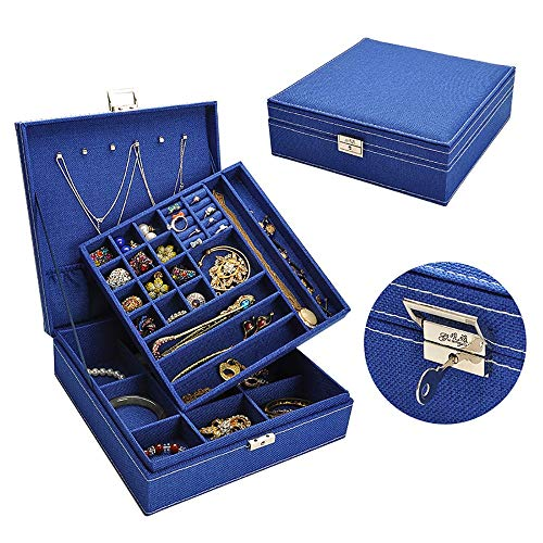 Lwieui Caja de Almacenamiento de la joyería Caja de Almacenamiento Caja de Maquillaje de Viaje Exhibición de Joyas Caja de Joyas de PU Caja de Joyas portátil Caja (Color : Pink, Size : Free Size)