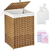 Greenstell Laundry Hamper with Lid, 60L Clothes Hamper with 2 Removable Liner Bags & 2 Mesh Laundry Bags, Handwoven Synthetic Rattan Laundry Basket for Clothes, Toys in Bathroom, Bedroom Natural