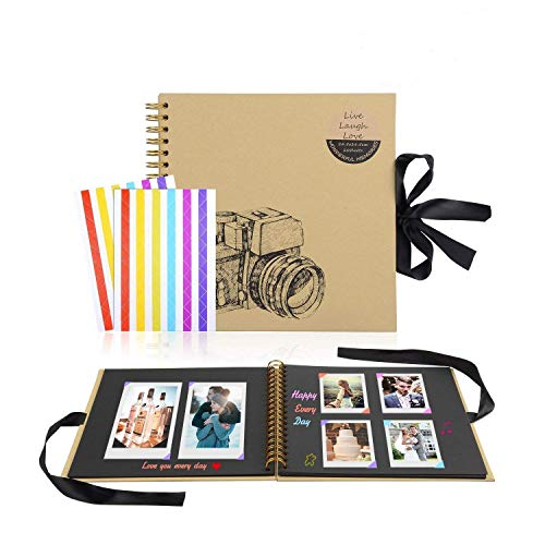 M-Aimee 8 x 8 Inch DIY Scrapbook Photo Album Hardcover Kraft Blank Purple Page Wedding and Anniversary Family Photo Album White, 8 Inch