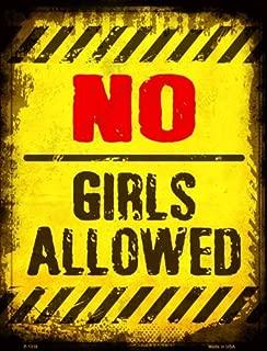 Smart Blonde No Girls Allowed Metal Novelty Parking Sign P-1318