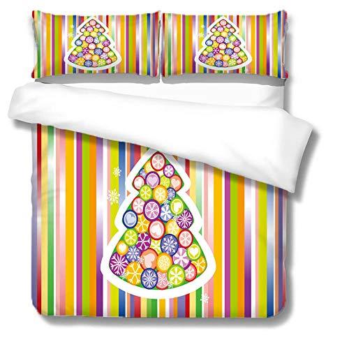Funda nórdica Caramelos de Colores Juego De Ropa De Cama 3 Piezas (Incluidas Fundas de Almohada a Juego) Microfibra Suave hipoalergénica Suave Y Transpirable 220x240cm