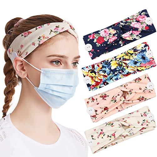 DRESHOW 4 Stück Damen Boho Stirnband, Stirnbänder mit Knöpfen für Masken Krankenschwestern Elastische Kopf Wickeln Niedlich Haarschmuck für Mädchen