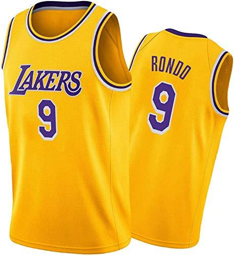 XHDH Jersey De Baloncesto para Hombre NBA Lakers 9# Rondo Baloncesto Fan Jerseys Sportswear Men's Cool Fresh Teléfono Tela Baloncesto Jersey Chaleco,Amarillo,M 170~175cm
