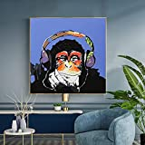 Arte callejero moderno estilo parodia Orangután con auriculares Pintura en lienzo Interior de la casa Decoración para niños Cuadro de pared 50x50cm (20x20in) Marco interior