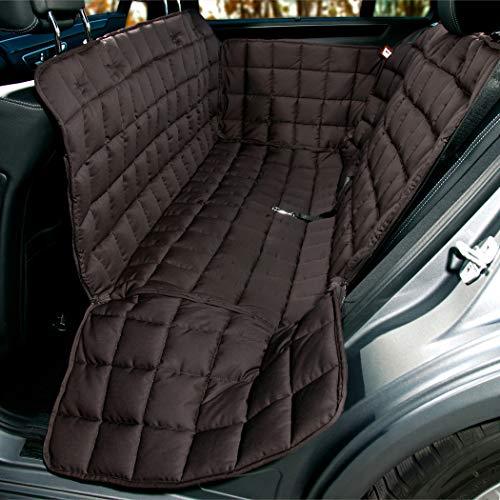 Doctor Bark Hunde 3-Sitz-Autoschondecke für die Rücksitzbank, All-Side Schutz mit Reißverschluss für alle PKWs und SUVs, S in Braun