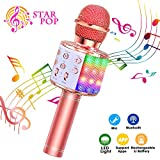ShinePick Microfono Karaoke, 4 in 1 Bluetooth Wireless LED Flash Microfono Portatile Karaoke Player...