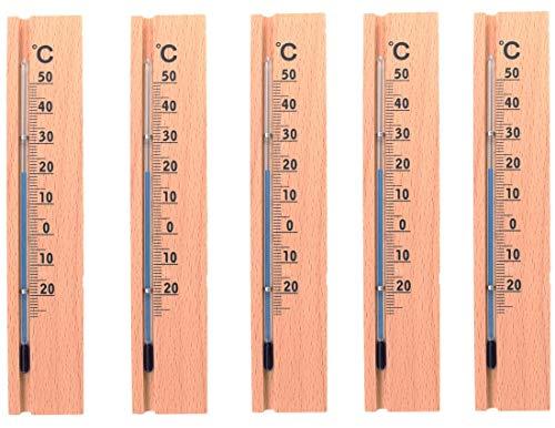 """5 Stück KOCH Zimmerthermometer \""""Modern Design\"""", Holz, Buche"""
