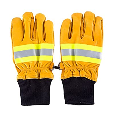 Firefighter Heavy Duty Work Gloves NFPA Rated w/ Reflective Strap