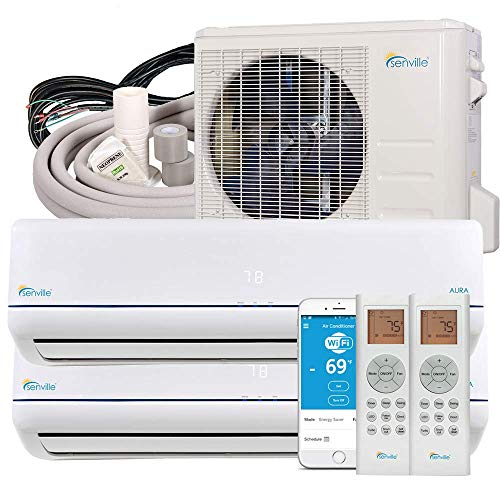 powerful Senville SENA-18MO-209 2 Zone Split Air Conditioner and Heat Pump 18,000 BTU, Mini