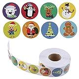 belukies 500 Stück Weihnachtsaufkleber Weihnachten Geschenkaufkleber Sticker Etiketten selbstklebend für Umschlag Geschenktüten Papiertüten Weihnachtskarten