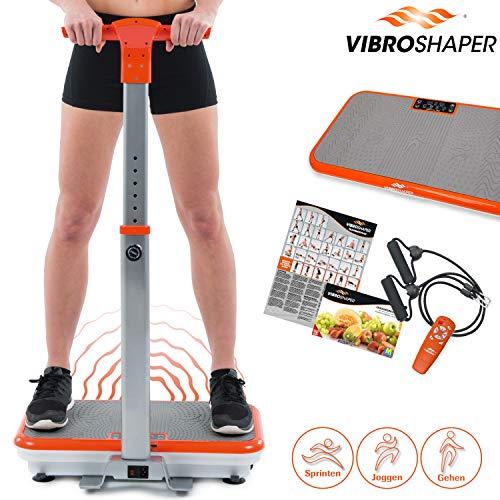 Mediashop VibroShaper, Vibrationsplatte, Ganzkörper Training | 3 Stufen, 99 Geschwindigkeiten, Fernbedienung, Trainingsbänder, Ernährungsplan, Übungsplan | Das Original aus dem TV (mit Griff)