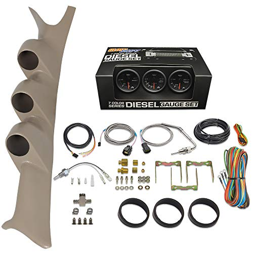 GlowShift 1999-2007 Ford Superduty Tan Gauge Package Black Face Boost, EGT & Trans Temp