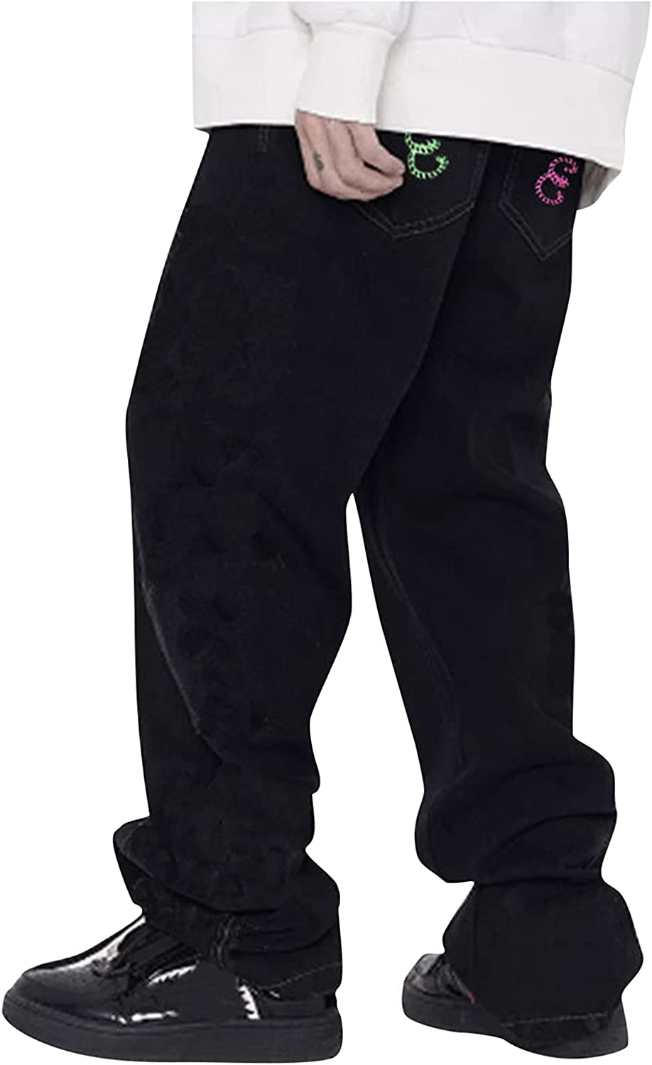 Mens Discount mail order Sweatpants Casual Black Cheap sale Straight-Fit Printed Jeans Rope Poc