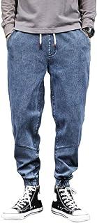 nobranded Pantaloni da Uomo Jeans Pantaloni a Vita Alta con Elastico in Vita Pantaloni a Lacci Pantaloni in Denim Dritti E...